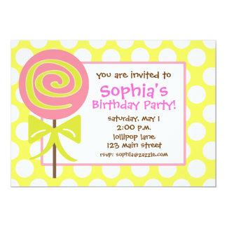 Lollipop Polka Dot Invitation
