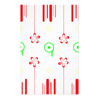 Lollipop red flowers custom stationery