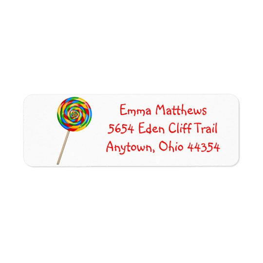 Lollipop Return Address Labels- Primary Colours Return Address Label
