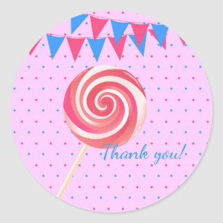 Lollipop Strawberry Birthday Party Classic Round Sticker