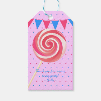 Lollipop Strawberry Birthday Party Gift Tags
