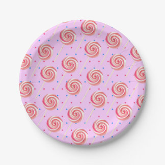 Lollipop Strawberry Pattern Birthday Party Paper Plate