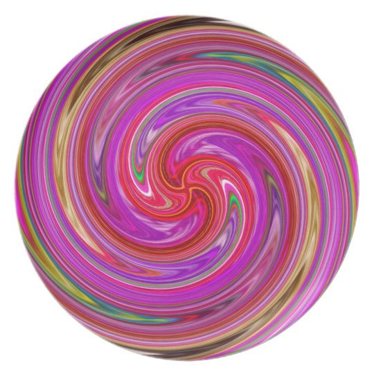 LOLLIPOP TWIRL PINK  PSYCHODELIC  MELAMINE  PLATE