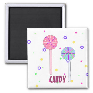 Lollipops and Candy Square Magnet