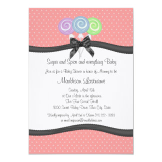 Lollipops and Polka Dots Baby Shower Card