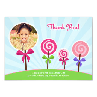 Lollypop Thank You Photo Card