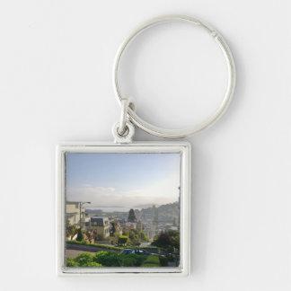 Lombard Street - San Francisco, California Silver-Colored Square Keychain