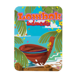 Lombok Island holiday travel poster. Magnet