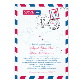 London and Italy Airmail | Wedding Card