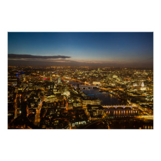 London at night - Aerial View poster
