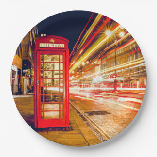 London at Night with British Red Telephone Box Paper Plate