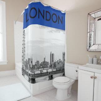 London Big Ben B+W Photo Blue Shower Curtain