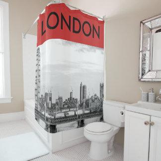London Big Ben B+W Photo Red Shower Curtain