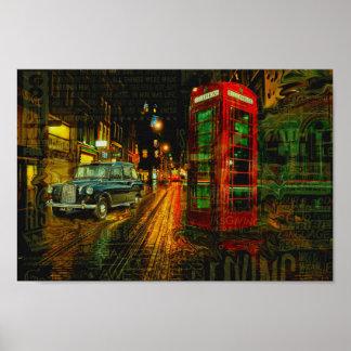 London big ben black cab taxi red telephone box poster