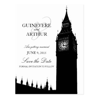 London Big Ben Modern Wedding Save the Date Postcard