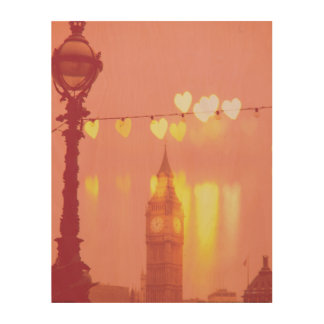 London | Big Ben Photograph Filtered Nightime Wood Wall Art