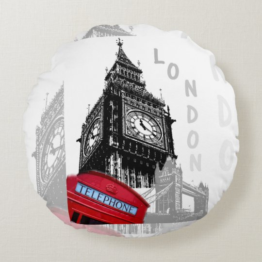 London Big Ben Red Telephone Round Pillow