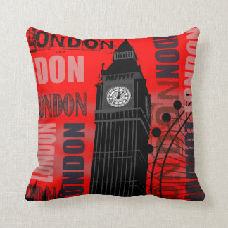 London Big Ben Red Throw Pillow