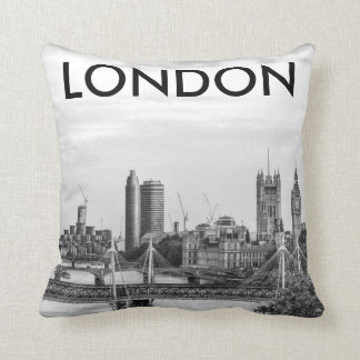 London Big Ben Thames Black & White Photo Pillow