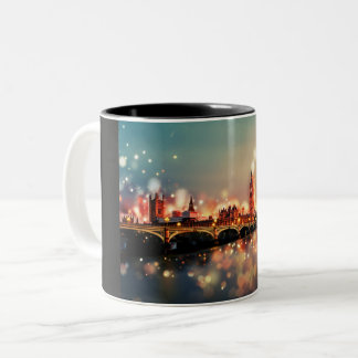 London, Big Ben, Tower Bridge Two-Tone Coffee Mug