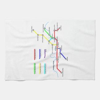 London Bike Map 16x24 Cotton Kitchen Towel