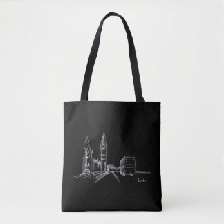 London Black Clock Tower Double Decker Sketch Tote Bag