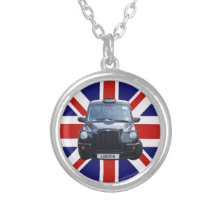 London Black Taxi Cab Silver Plated Necklace