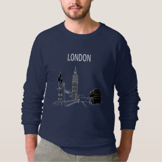 London Blue Cool Modern Minimal Sketch Big Ben Sweatshirt