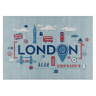 London Blue & Red Icons Cutting Board