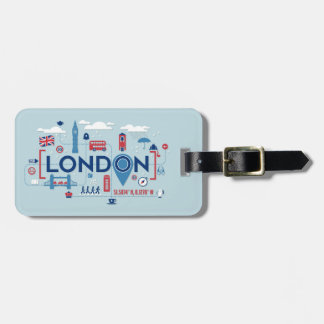 London Blue & Red Icons Luggage Tag