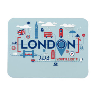 London Blue & Red Icons Magnet