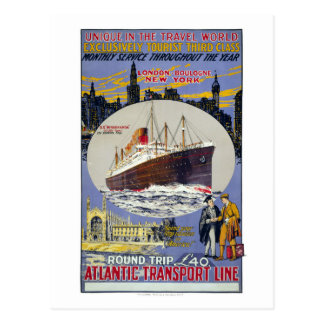 London-Boulogne New York Vintage Travel Poster Postcard