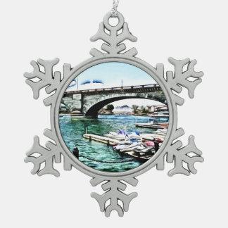 London Bridge at Lake Havasu City, Arizona Pewter Snowflake Ornament