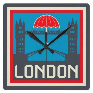 London Bridge with Umbrella Square Wall Clock