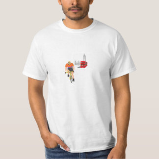 London bus and a cyclist tee shirts