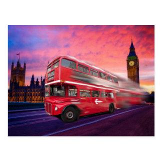 London Bus and Big Ben Postcard