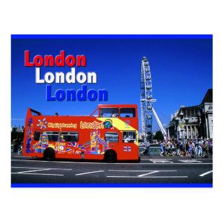 london bus and eye postcard
