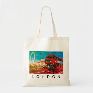 London bus and London Eye tote bag