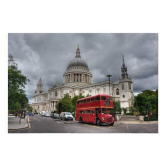 London Bus and St Pauls Cathedral England Poster