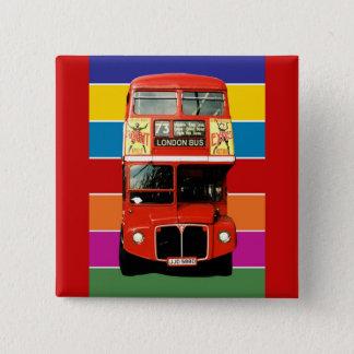 London Bus Badge - Square 2 Inch Square Button