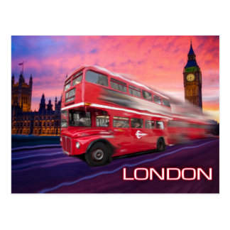 London Bus & Big Ben Postcard