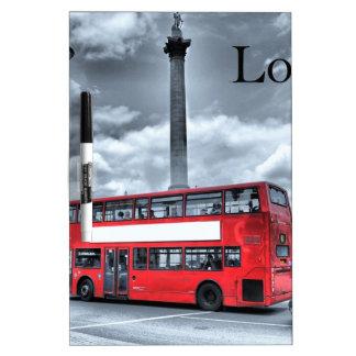 LONDON BUS in Black & White (St.K) Dry Erase Whiteboards
