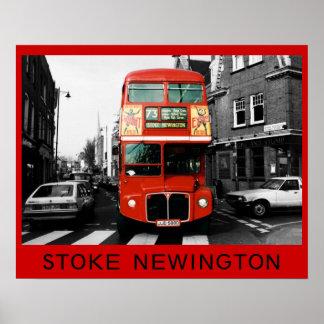 London Bus in Stoke Newington Poster