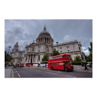 London Bus passes St Pauls Cathedral England Poster