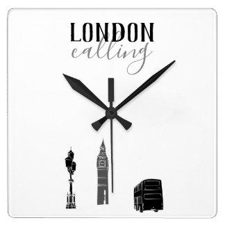 London Calling Big Ben Stylish Black White Pure Square Wall Clock