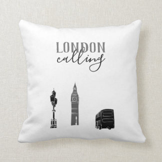 London Calling Big Ben Stylish Black White Tartan Throw Pillow