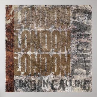 London Calling Graphic Grunge Art Design Poster
