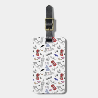 London City Doodles Pattern Luggage Tag