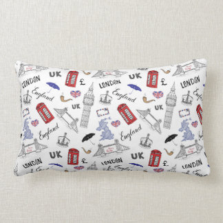 London City Doodles Pattern Lumbar Pillow