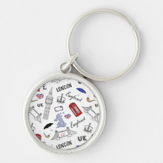 London City Doodles Pattern Silver-Colored Round Keychain